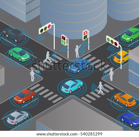wireless communication of vehicles and signals, pedestrians, traffic monitoring system