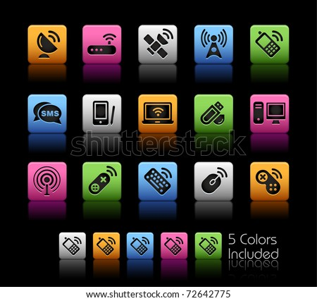 Wireless & Communications // Color Box -------It includes 5 color versions for each icon in different layers ---------