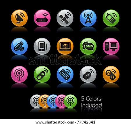 Wireless & Communications Icons// Gelcolor Series -------It includes 5 color versions for each icon in different layers ---------