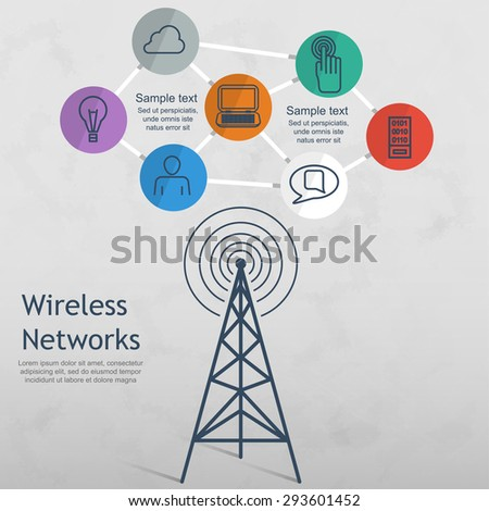 wireless data network technology vector illustration