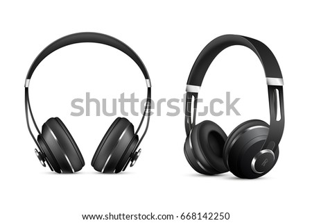 Wireless headphones realistic set with music and technology symbols isolated vector illustration