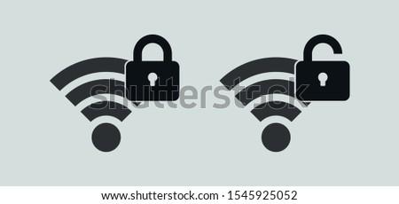 Wireless Icon. Wireless Lock and Unlock