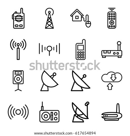 Wireless icons set. set of 16 wireless outline icons such as signal tower, satellite, phone, loudspeaker, signal, smart home, remote control, walkie talkie, download cloud