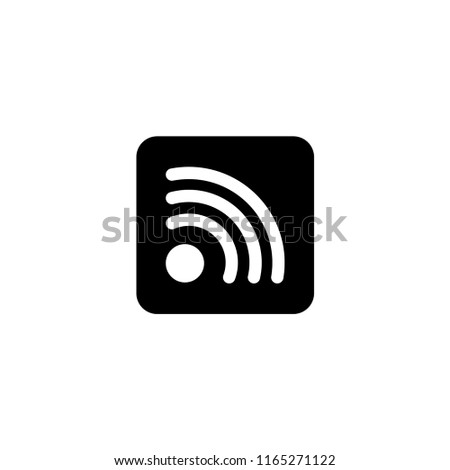 Wireless Internet WiFi, Social RSS. Flat Vector Icon illustration. Simple black symbol on white background. Wireless Internet WiFi, Social RSS sign design template for web and mobile UI element