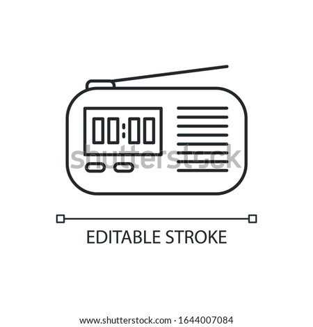 Wireless radio set pixel perfect linear icon. Portable receiver. Signal transmitting apparatus. Thin line customizable illustration. Contour symbol. Vector isolated outline drawing. Editable stroke
