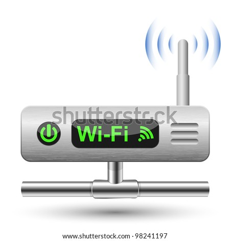 Wireless Router Icon with a LAN connection. Vector Illustration