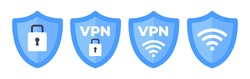 Wireless shield VPN wifi icon sign flat design vector illustration set. Wifi internet signal symbols in the security shield isolated on white background.