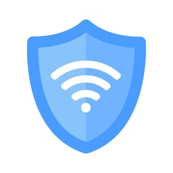 Wireless shield VPN wifi icon sign flat design vector illustration. Wifi internet signal symbols in the security shield isolated on white background.