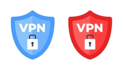Wireless shield with text VPN and no VPN wifi icon sign flat design vector illustration. Wifi internet signal symbols in the security shield isolated on white background.