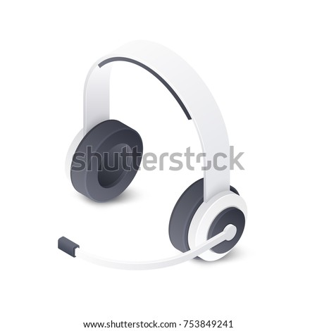 Wireless stereo headset isolated on white background. Isometric vector illustration