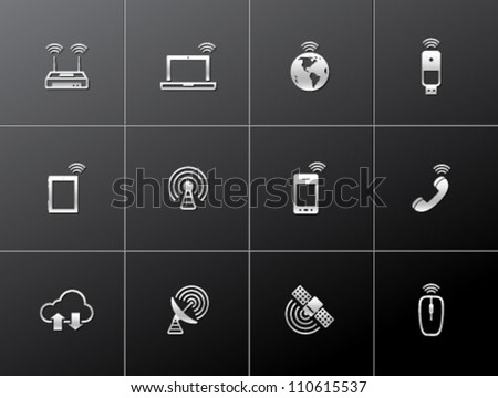 Wireless technology icon series in metallic style