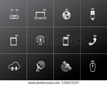 Wireless technology icon series in metallic style