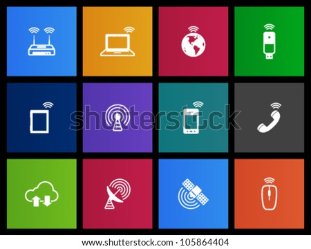 Wireless technology icon series in Metro style