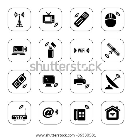 Wireless technology icons - BW series
