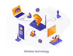 Wireless technology isometric web banner. WiFi network communication isometry concept. Internet sharing 3d scene, gadgets network connection flat design. Vector illustration with people characters.