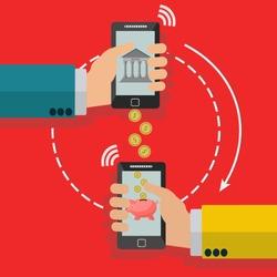 Wireless transfer of money through mobile phone vector concept