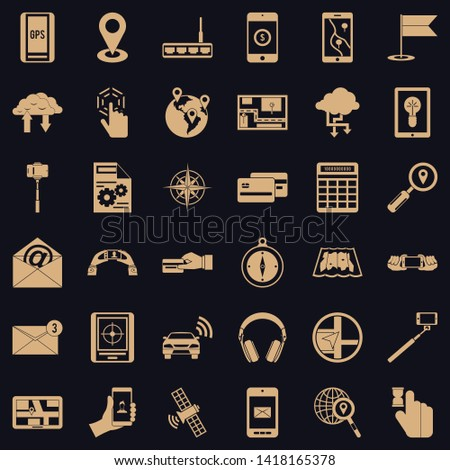 Wireless widget icons set. Simple set of 36 wireless widget vector icons for web for any design
