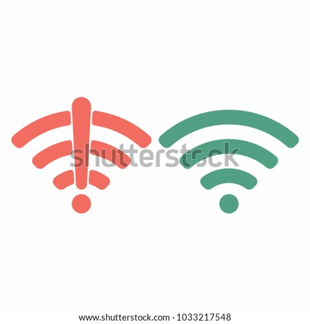 Wireless wifi icon sign flat design vector illustration set. Wifi and no wifi internet signal symbols set in red green colors isolated on white background