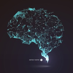 Wires from the point of brain graphics, vector illustration.