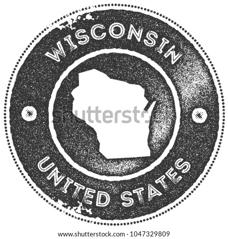 Wisconsin map vintage dark grey stamp. Retro style handmade us state label, badge or element for travel souvenirs. Vector illustration.