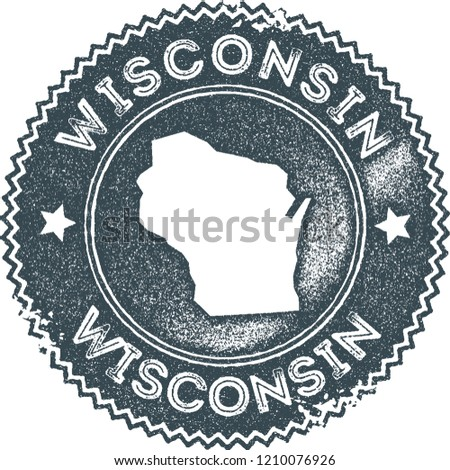Wisconsin map vintage stamp. Retro style handmade label, badge or element for travel souvenirs. Dark blue rubber stamp with us state map silhouette. Vector illustration.