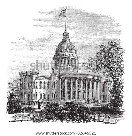 Wisconsin State Capitol in Madison, US, during the 1890s, vintage engraving. Old engraved illustration of Wisconsin State Capitol. Trousset encyclopedia (1886 - 1891).