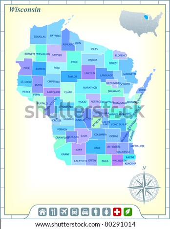 Wisconsin State Map with Community Assistance and Activates Icons Original Illustration