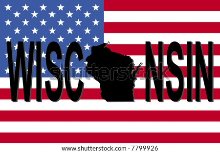 Wisconsin text with map on American flag illustration