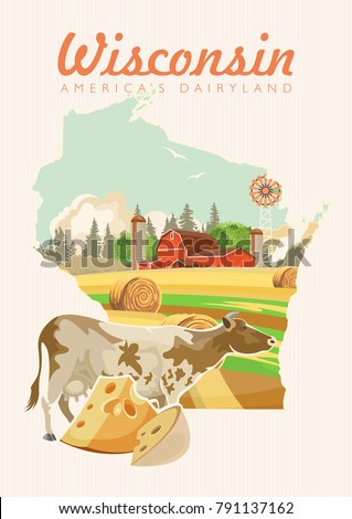 Wisconsin vector illustration. American dairy country. Travel postcard.