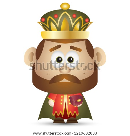 Wise Man Caspar Cute cartoon Christmas Character Isolated Vector Illustration
