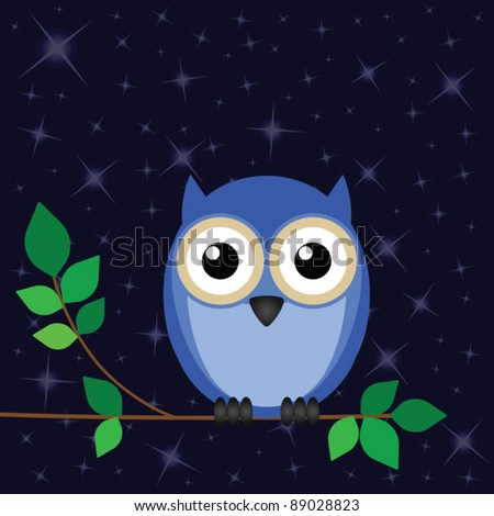 Wise old owl against a star night sky