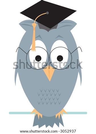 Wise old owl cartoon. Fully editable vector illustration