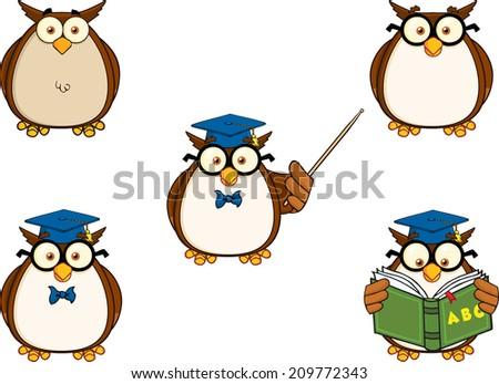 wise owl teacher cartoon mascot