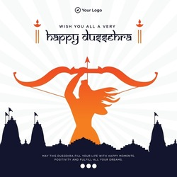 Wish you all a very happy dussehra banner design template.