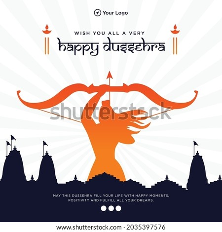 Wish you all a very happy dussehra banner design template. Сток-фото ©