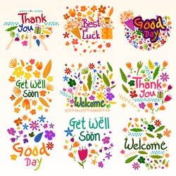 Wishing and greetings for Thank you, Best of Luck, Good Day, Welcome, Get Well Soon in vector