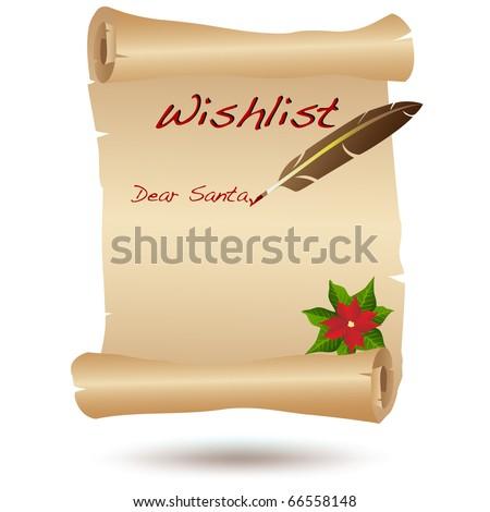 Wishlist for Christmas on a parchment VECTOR isolated on white