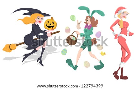 Witch, Bunny and Santa Girls Vector - stock vector