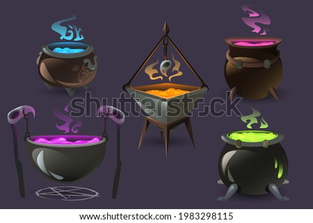 Witch cauldrons with boiling magic potions. Old cooking boilers with colored brew and steam. Vector cartoon set of copper cauldrons with sorcery poisons, witchcraft equipment Stock photo ©