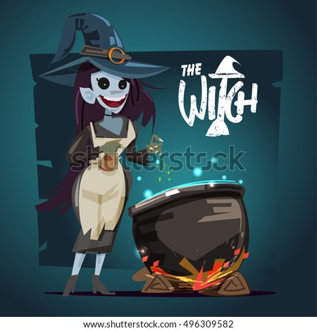 Witch character with cauldron. halloween concept - vector illustration