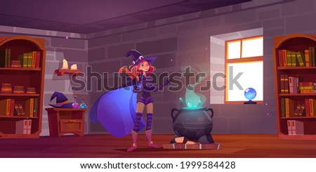 Witch cooking potion in magic school, cute enchantress fantasy character in hat, costume and cape stand at boiling cauldron in classroom with bookshelves and magical items, Cartoon vector illustration Stock photo ©