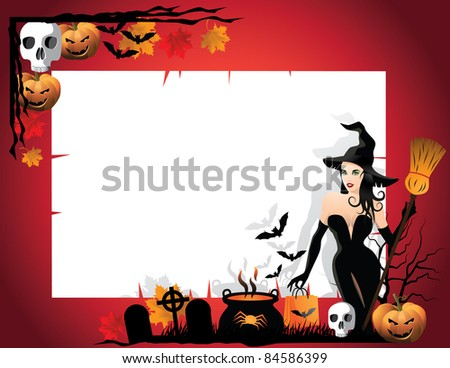 Witch corner background Halloween. EPS 8 vector grouped for easy editing. No open shapes or paths.