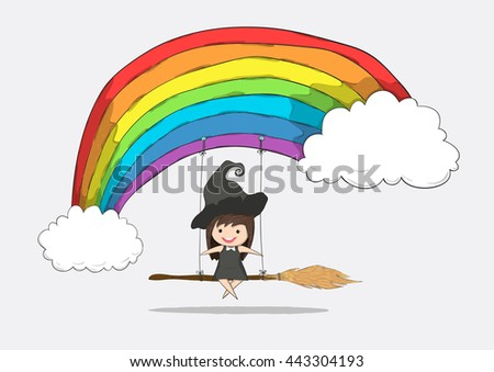 witch cute swinging on a broom