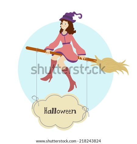 Witch flying on broom with hanging text Halloween on blue and white background.  Stok fotoğraf ©