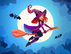 Witch flying on broomstick against full moon light, wizard wearing costume, lady with bats. Halloween holiday celebration, fantasy and magic on all hallows eve in autumn season. Cartoon vector