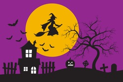 Witch flying on broomstick and old haunted house silhouette in front of the big moon and the purple sky with bats. Halloween holiday concept vector illustration