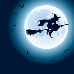 Witch flying over the moon.