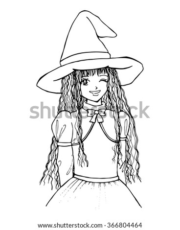 witch girl monochrome black and