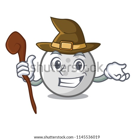 witch golf ball mascot cartoon