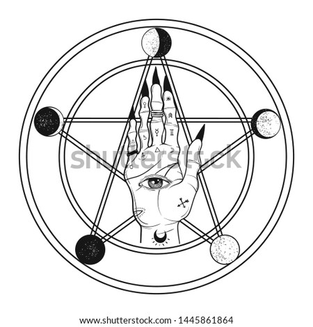 Witch hand on pentagram with moon phases. Boho chic tattoo, poster or altar veil print design vector illustration